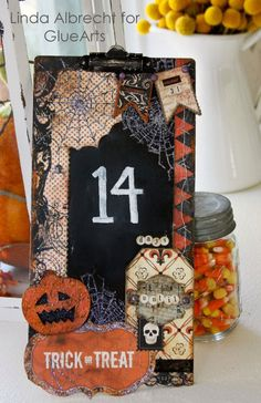 Halloween chalkboard countdown calendar from #GlueArts and Designer @Linda Albrecht using #Authentique products.
