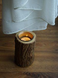 świecznik, naturalnie drewniany