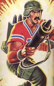 Bazooka - G.I Joe;  Joe Team's missile specialist and debuted in 1985. real name David L. Katzenbogen, his rank is that of sergeant E-5. Bazooka was born in Hibbing, Minnesota.  Bazooka trained at the Advanced Infantry School, Fort Benning, Armor School, Fort Knox, and is a qualified expert with Dragon Anti-Tank Missile. noted for being a swift, strategic thinker.