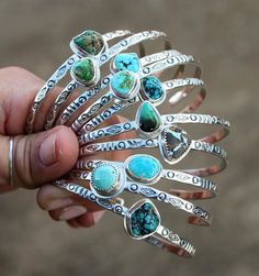 Ten Stamped Stacking Cuffs that will be making their debut on . Opal Jewelry, Indian Jewelry, Boho Jewelry, Jewelry Shop, Silver Jewelry, Fine Jewelry, Handmade Jewelry, Jewelry Design, Fashion Jewelry