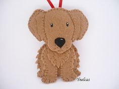 Dog - Felt Christmas Ornament - Felt Dog Ornament - Golden Retriever Dog Ornament More