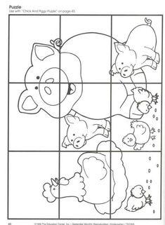 Farm Activities, Animal Activities, Animal Crafts, Preschool Activities, Farm Animals Preschool, Preschool Worksheets, Tier Puzzle, Farm Lessons, Farm Unit