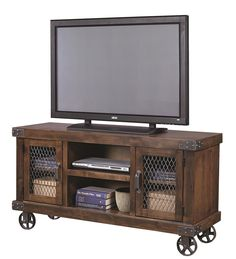 Aspenhome Industrial Console with Metal Casters - Becker Furniture World - TV Stands Rustic Industrial Furniture, Industrial Tv Stand, Industrial Style, Industrial Design, French Industrial, Victorian Furniture, Primitive Furniture, Industrial Metal, Distressed Furniture