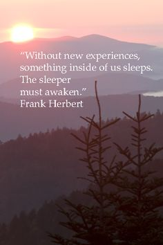 """Without new experiences, something inside of us sleeps. The sleeper must awaken."" – Frank Herbert #travel #quote"