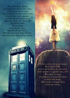Amazing goodbye speech from the Doctor to the glorious Amy Pond