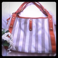Francesco Biasia cotton tote ☀️ Designer cotton tote, imported made in Italy. Excellent condition with lots of pockets including zippered middle divider, side inside pocket and cell phone compartment, etc. Magnetic clip closure but no exterior belt. It's 100% cotton exterior and lining. Orange faux leather trim. Taupe and cream stripes.  Francesco Biasia Bags Shoulder Bags