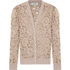 Valentino Lace Cardigan ($1,050) ❤ liked on Polyvore featuring tops, cardigans, sweaters, jackets, outerwear, nude, pink lace cardigan, lace cardigan, lacy cardigan and pink top