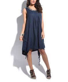 Navy Blue Linen Pocket Shift Dress - Plus Too