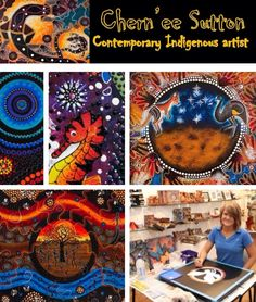 Contemporary Aboriginal Art * * *  Chern'ee Sutton, contemporary Indigenous artist with family links to the Kalkadoon people from the Mt.Isa area in Queensland, Australia.  She started painting when she was 13 years old and she paints mostly on canvas using acrylic and raised acrylic paints. She is very passionate about her families' culture and history and wish to shares this with the rest of the world. #Chern'eeSutton #Kalkadoon #AboriginalArtist