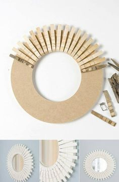 Sunburst mirror using clothes pins Clothes Pin Wreath, Clothes Pegs, Easy Crafts, Diy And Crafts, Easy Diy, Sunburst Mirror, Diy Projects To Try, Diy Art, Diy Home Decor