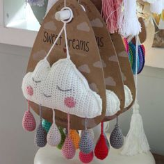 Affordable Modern baby mobile or wall hanging .Design's speciality items are designed in Australia for families worldwide! Crochet Baby Mobiles, Crochet Bunting, Crochet Mobile, Crochet Birds, Cute Crochet, Crochet Crafts, Hand Crochet, Crochet Toys, Knitting Projects