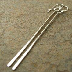Extra long sterling silver earrings Sleek twist bar by organikx, $52.00