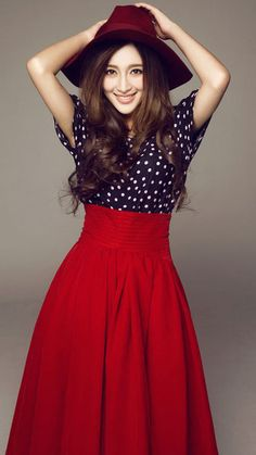 7d9a116673 Europe Fashion Vintage Dot Tops and Long Skirt