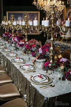 Lush, bold, luxury wedding Inspiration from WedLuxe Magazine. Berry tones centerpieces and mix metallics. Reception Decorations, Event Decor, Wedding Centerpieces, Table Decorations, Wedding Candelabra, Beautiful Table Settings, Wedding Table Settings, Vintage Table Settings, Wedding Table Setup
