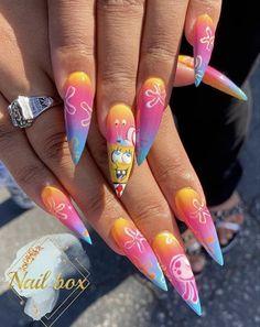 Dope Nail Designs, Cute Acrylic Nail Designs, Simple Acrylic Nails, Best Acrylic Nails, Edgy Nails, Glam Nails, Nails After Acrylics, Anime Nails, Drip Nails
