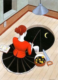 Fishing for stars - illustration by Andrej Mashkovtsev