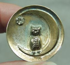 Silvered Brass Picture Button Owl Crescent Moon Metal | eBay