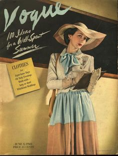 """Teacher, at blackboard, already looking fashionable, making notes about clothes to pack and books to read as she prepares for vacation. Vogue, June 1, 1942. Issue includes """"Vogue's-eye view of a well-spent summer"""" and fashion editorial """"Fashion at..."""