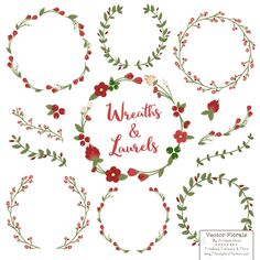 MARINA FLORAL WREATHS & LAURELS SET by Mandy Art Market Retail $4.99, on sale for $1.49 (70% Off)