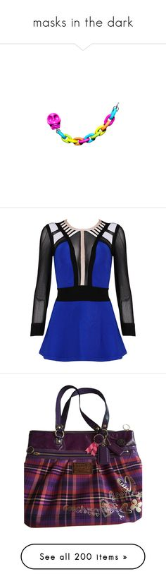 """masks in the dark"" by bluekiller2002 ❤ liked on Polyvore featuring tops, blouses, shirts, dresses, blusas, zipper blouse, peplum shirt, zip blouse, peplum top and electric blue blouse"