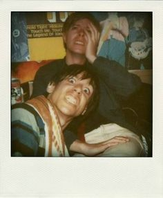 Rare polaroid photograph of Iggy Pop and David Bowie.