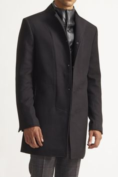 Slim Calvary Twill & Leather-Look Carcoat - Nocturnal - Jackets & Outerwear : JackThreads
