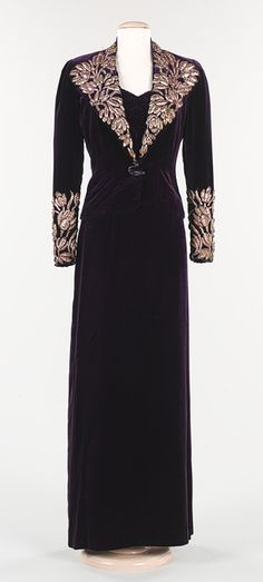 1938 Elsa Schiaparelli Evening ensemble: purple silk velvet and metal foil.  Via the Metropolitan Museum of Art.