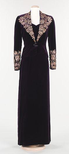 1938 Elsa Schiaparelli Evening ensemble: purple silk velvet and metal foil.  Via the Metropolitan Museum of Art.