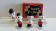Vintage Holt Howard Snowman Snowies Clip on Christmas Tree Ornaments with Box | eBay