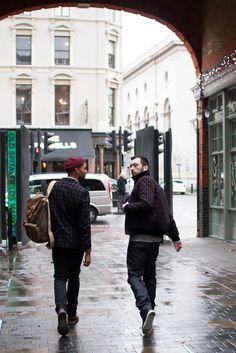 Menswear street style for AIDA Shoreditch, photo shoot on location at Spitalfields Market East London. Shot by Sergio Jensen.