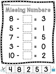 Missing Subtrahends and Minuends (numbers in subtraction problems) cut and pastes!! Subtraction problems within 10 - fun fun!