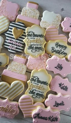 Iced Cookies, Cute Cookies, Cupcake Cookies, Sugar Cookies, Happy Birthday Cookie, Sweet 16 Birthday, Birthday Cookies, 16th Birthday, 50th Birthday Themes