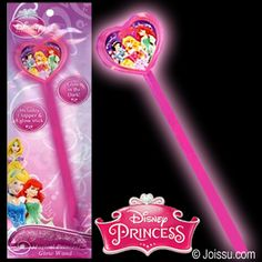 DISNEY PRINCESSES GLOW WANDS. Glows pink in the dark. Comes with 1 glow stick & 1 Disney Princess topper. To activate simply bend stick & shake. Individually foil wrapped with hanger.Size 9 Inches
