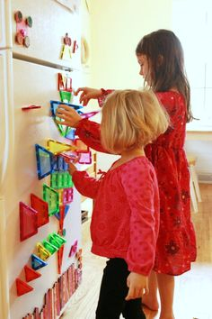 Fun new ideas for using those magnetic tiles---on the fridge, in the sandbox, and in the bathtub! Have you tried magnetic tiles yet?