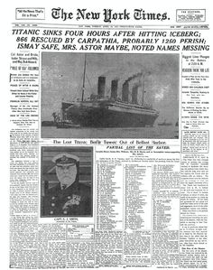 The Sinking of TITANIC New York Times - Titanic Sinks. I am fascinated with the history of the Titanic! 5th Grade Social Studies, Teaching Social Studies, Teaching History, Teaching Tools, Teaching Resources, History Classroom, History Education, Naufrágio Do Titanic, Titanic Sinking