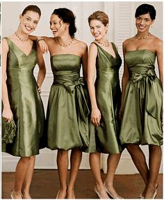 Moss Green Cocktail Dresses for Weddings