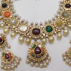 By Hazoorilal Legacy. Shop for your wedding jewellery, with Bridelan - A personal shopper & stylist for Indian brides & grooms. Website www.bridelan.com #Bridelan #weddingjewellery #Indianjewellery #jewellery #navratan #traditionaljewellery #navaratna