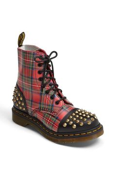 Dr. Martens Red Plaid Studded Boot
