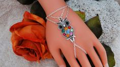 Colorful Owl Slave Bracelet Hand Chain Hand Harness by JWBoutique1, $16.00
