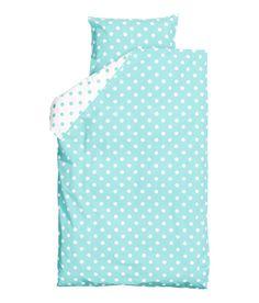 Polka Dot Duvet Quilt Cover 2pc Set Twin 100% Cotton Reversible Light  Turquoise and White a33e835ea96d4
