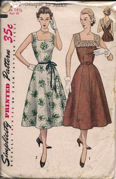 1950's Printed Sewing Pattern Simplicity 4347 Misses by VintHill, $18.00