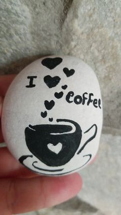 I Love COFFEE painted rock Rock Painting Patterns, Rock Painting Ideas Easy, Rock Painting Designs, Pebble Painting, Pebble Art, Stone Painting, Stone Crafts, Rock Crafts, Coffee Painting