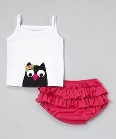 White Owl Tank & Fuchsia Ruffle Diaper Cover - Infant by Victoria Kids #zulily #zulilyfinds