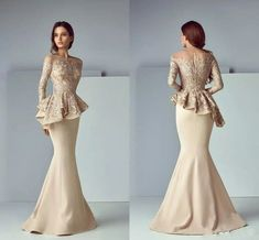 Champagne Lace Stain Mother Of The Bride Dress Peplum Formal Wear Mermaid Evening Dresses Long Sleeve Dubai Arabic Prom Gowns, Pink Formal Dresses, Dresses Uk, Nice Dresses, Sexy Dresses, Formal Wear, Prom Dresses, Dress Prom, Dress Formal, Dress Long