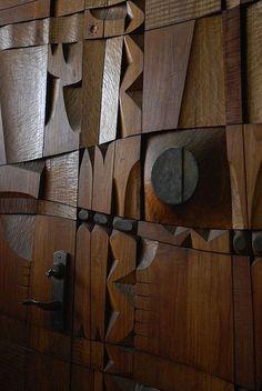 LEROY SETZIOL, Hand carved teak panel doors (detail), USA c.1960s. /