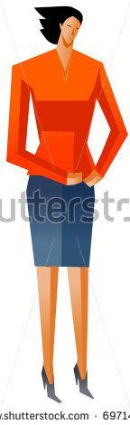 businesswoman standing - stock vector
