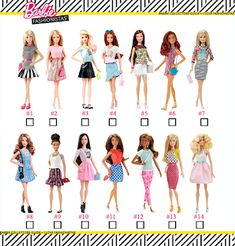 NEW 2019 Barbie Fashionista Doll Colorful Stripe White T-Shirt Tee Top Clothing