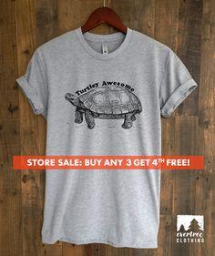 Turtley Awesome T-shirt, Ladies Unisex Crewneck Shirt, Animal T-shirt, Hipster Turtle Shirt