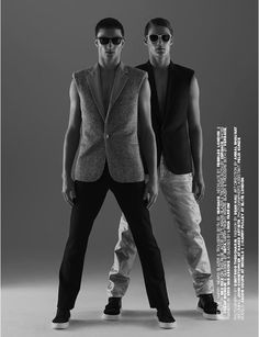 """Jacob Coupe and Harry Pulley shot by Dimitris Theocharis and outfitted by Jean Hau with pieces from Versace, Yves Saint Laurent, TOPMAN and more, for """"The Fantasy Issue"""" of Homme Style magazine."""