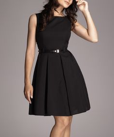Black Belted Fit & Flare Dress - Women | zulily